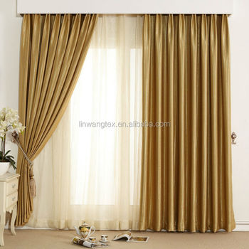 luxury design shiny blackout curtain fabric