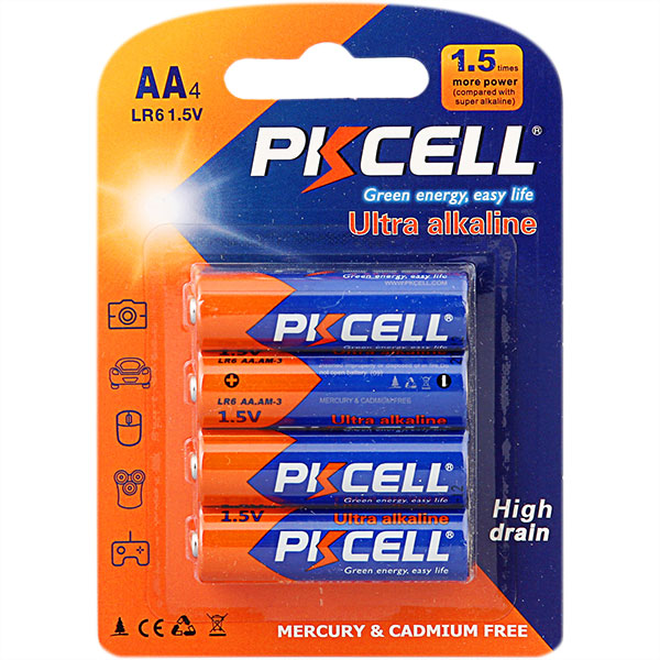 LR6 primary dry battery for toys , Super Alkaline 1.5V AA battery with PKCELL