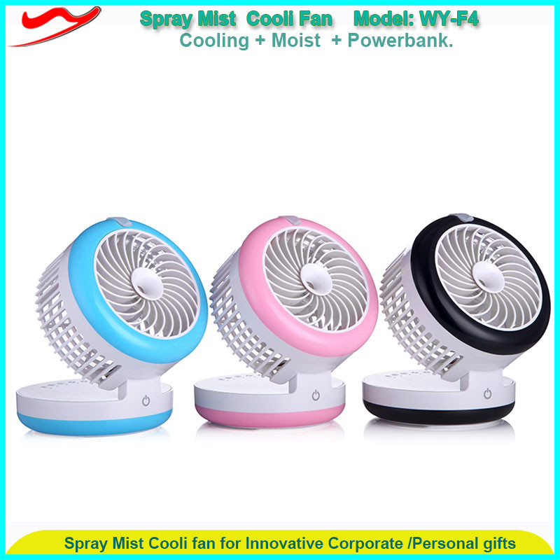 Tiny mist steam cooling fan with power bank & humidifier function