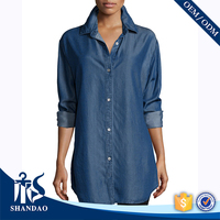 Bestselling China Shandao OEM Button Front Long Sleeve Loose Fit Denim Shirts Women