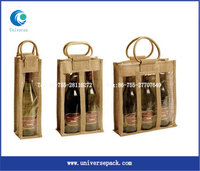 Personalized Wine Bag Jute High Quality Made In China Bamboo Handle Bags