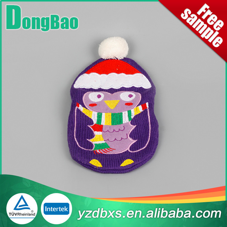 colorful good quality knitted hot water bag cover a nice Christmas hat and purple bird Christmas day's gift