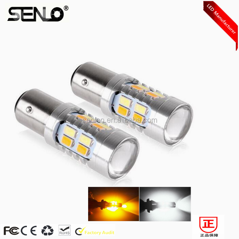 Error free dual color switchback 1156 1157 ba15s p21 led drl canbus White Yellow amber LED Turn Signal Light 20smd 5730
