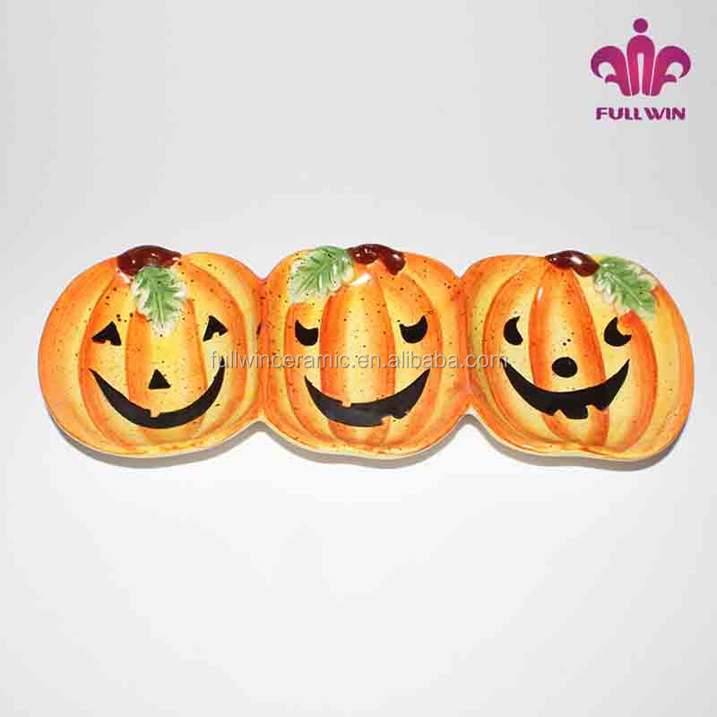 Halloween decoration pumpkin shaped divided plates dishes ceramic,Ceramic 3 section plate with pumpkin pattern