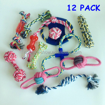 2017 New Cheap 12 pack cat pet chew dog toy set LOW MOQ Custom LOGO durable squeaky cotton dog rope toys