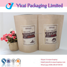 Made in China hotsale aluminum standing zipper coffee packaging bag /gusset coffee bag brown kraft paper body scrub bag