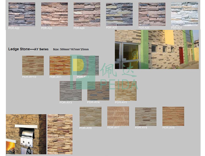 Various Color Artificial Culture Stone For Wall Decoration