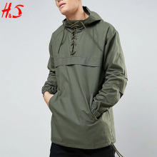 Wholesale Custom Made Over Head Lace Up Detail Jacket Pullover Light Windbreaker