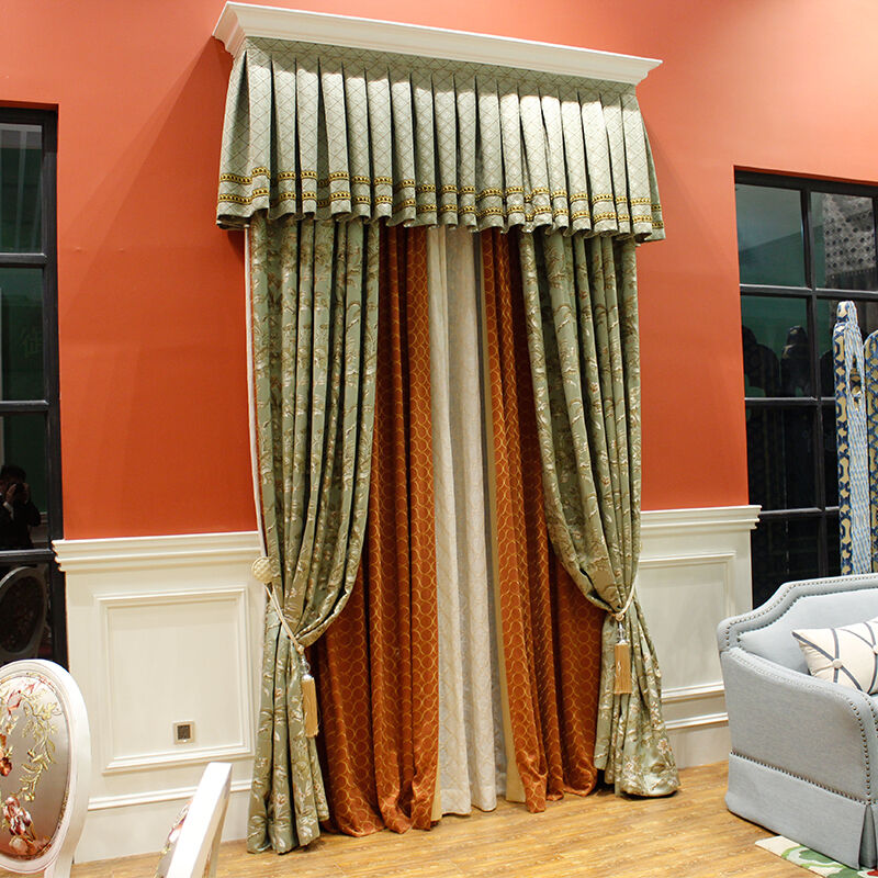 European rural cotton and silk flower jacquard curtains