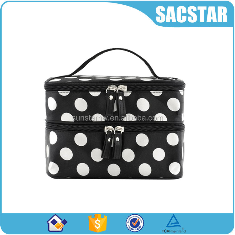 black and white dot double layer round makeup bag cosmetic