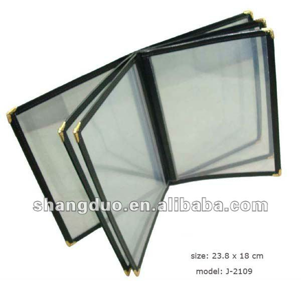 Hotel Clear PVC Menu Folder with Qualitied Leather