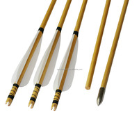 Handmade Hunting Wooden Bows and Arrows , White Wood Arrows, Pine Wooden Arrows for Traditional Recurve Bows