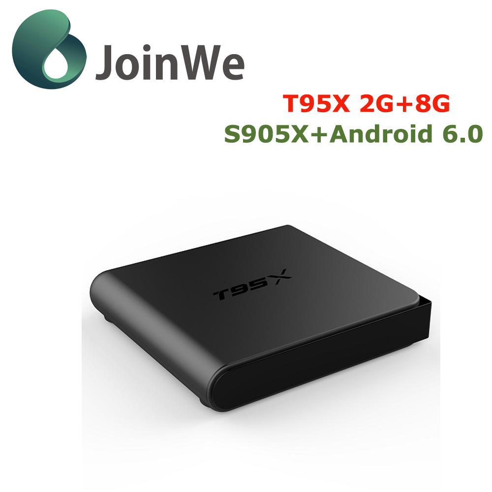 T95X TV Box S905X Quad Core Android 6.0 Wifi 2.4G Kodi 16.1 1G/8G Smart Android TV Box Media Player T95 + Rii i8 remote keyboard