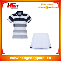 Latest high quality sexy tennis wear slim fit custom made /colorful stripe dress tennis set