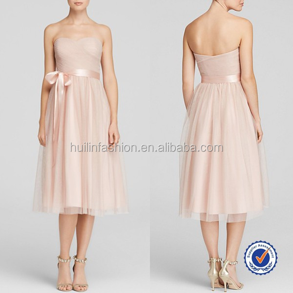 Alibaba China off-shoulder pink tulle lace midi bridesmaid dresses hong kong