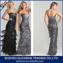 Innovative Sweetheart Strapless Floor Length Tiered Sequin Evening Dress