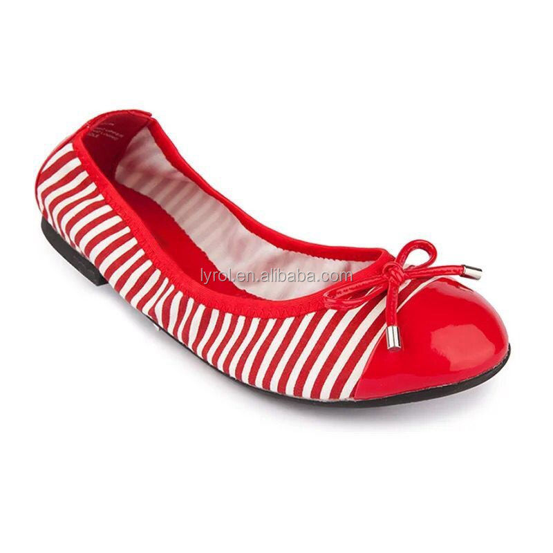 New model ladies soft shoes stripe foldable flats women pump shoes