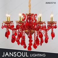 JANSOUL classic 8 lights red crystal chandelier light
