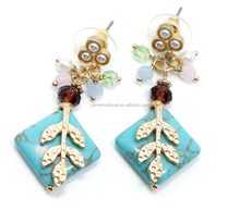 Fashion Earring, HIgh Quality Turquoise Stud Earring, Crystal Glass Earring
