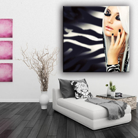 Home decor printed type beautiful girl picture art canvas painting with glitter