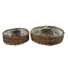 Circle shape wicker basket use for planting flowers