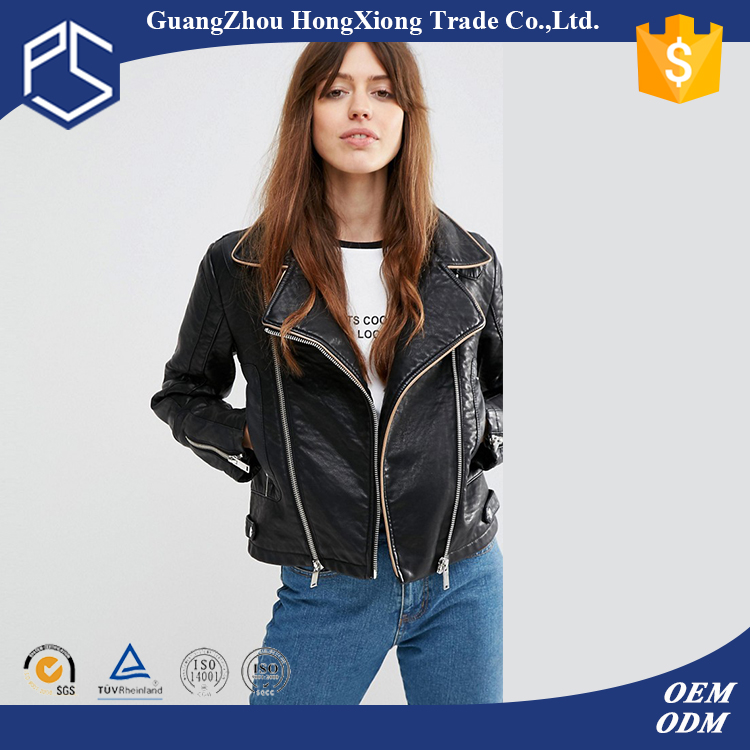 Guangzhou Factory Zipper New Short Slim Design Leather Jackets Women 2016