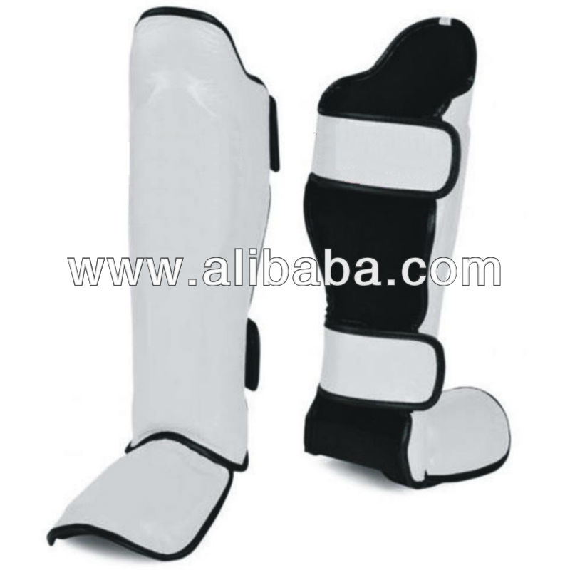 Leather Shin Guards Insteps Pads: White With Black Trim. King Model Shin Pads.