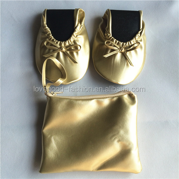 Soft Gold Ballet Flats Best Fold Up Shoes For The Ball And Wedding Party