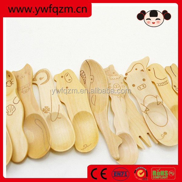 Animal Shaped Mini Kids Wooden Spoon and Fork