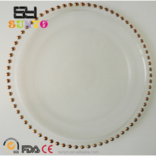 Wholesale Cheap Gold Beaded Clear Glass Charger Plates