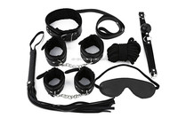 Adult sex game play fetish goods male black bondage leather seven pieces sex game products