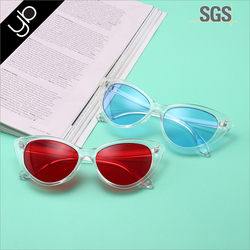 Hot selling China's newly designed Transparent jelly - colored cat eyes frame fashion shopping party sunglasses