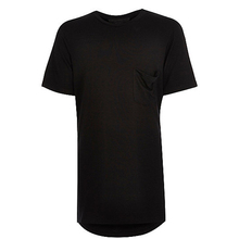 China factory manufacture cheap fine plain black elongated t shirts