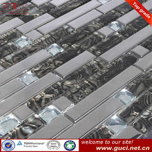 patchwork stainless steel mixed glass mosaic tile in China