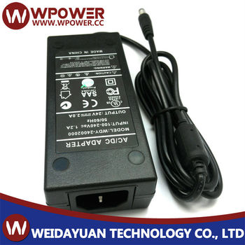 24v 2a power adapter for pos printer with UL.Class2 approves,dc jack:5.5*2.1,hot sell!
