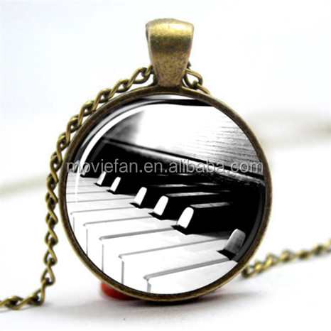 Piano key Necklace Glass Photo Cabochon Necklace