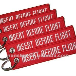 Insert Before Flight Embroidered Key ring/Key Chain/Key Fob