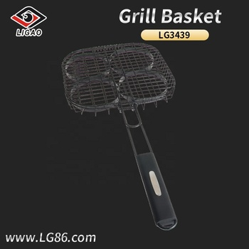 Easily-cleaned and non-stick bbq basket for steak with slide lock
