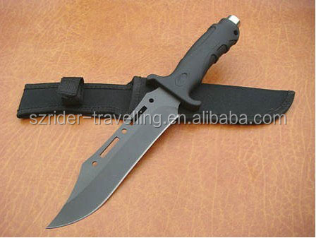 OEM black Rubber + Plastic handle stainless steel tactical hunting knife fix blade RD00508