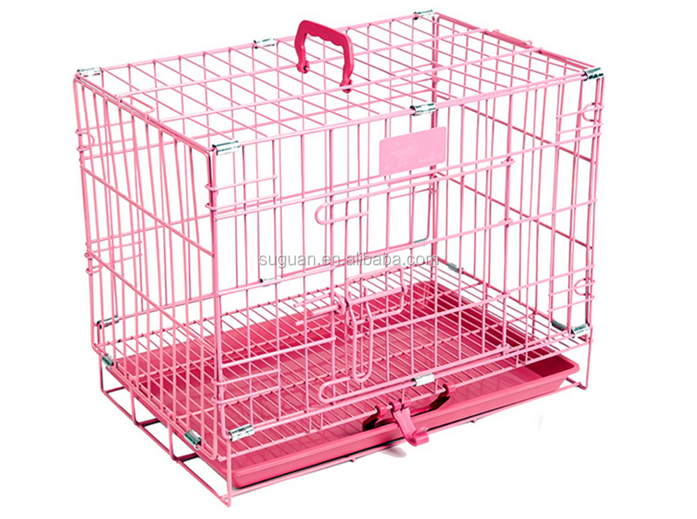Chinese supplier custom home & garden foldable metal double door spraying plastic dog cage