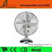 Air Cooling 16 inch Oscillating Portable Chrome Metal Desk Fan