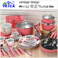 2016 worldwide hot sale flower stainless steel non-stick cookware set