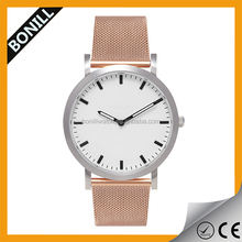OEM Custom made slim Rose Gold PVD coating Stainless steel mesh band watch