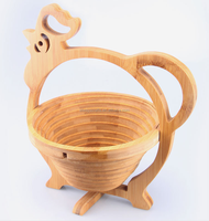 Wholesales! Eco-friendly Folding Animal Shaped Bamboo Fruit Basket in Cock