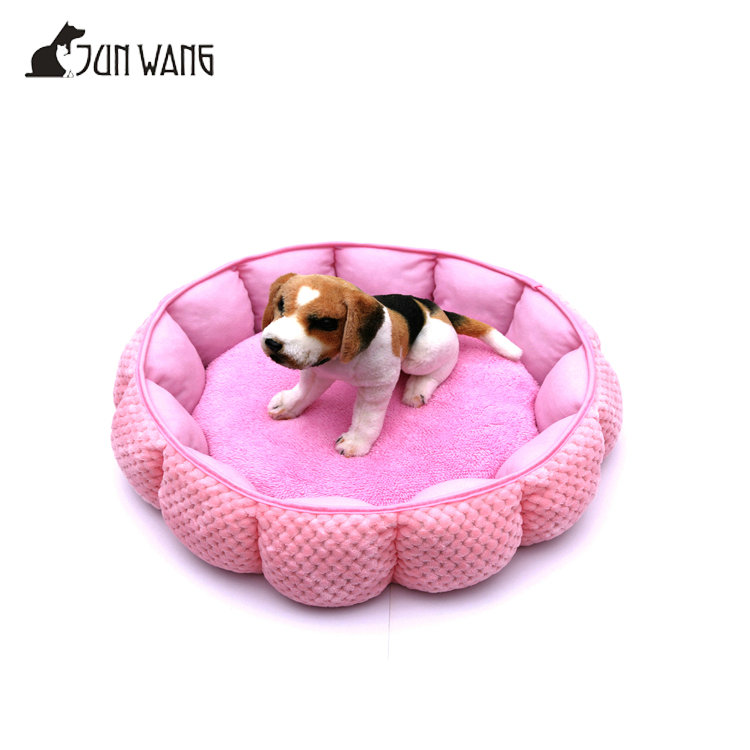 Luxury flower shaped plush pet dog and cat beds