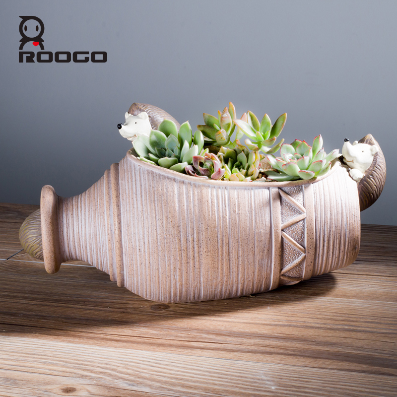 ROOGO handmade resin red ceramic hedgehog vintagel garden plant pots cheap