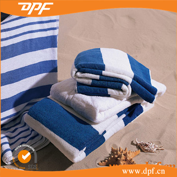 Fashionable printed blue and white stripe terry beach pool towels
