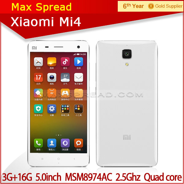 "hot selling 5"" Xiaomi Mi4 cell phone Snapdragon 801 Quad Core MIUI V6 pear phone for sale"