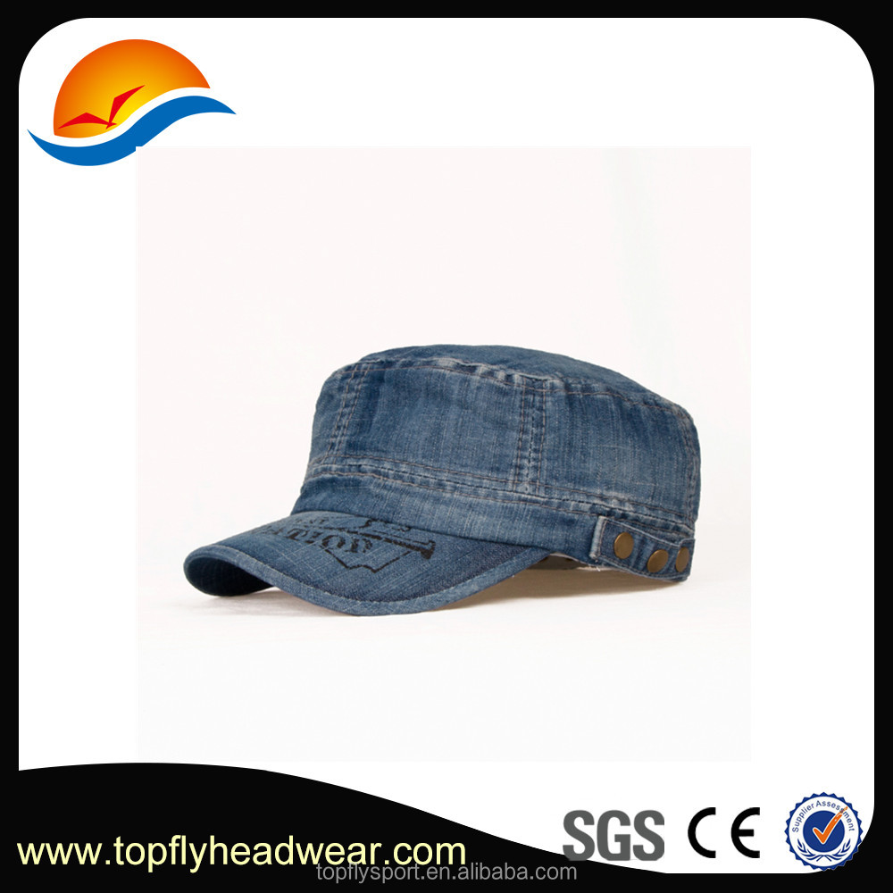 Fashionable custom made jean Military hat with printing logo . washed denim Military hat.