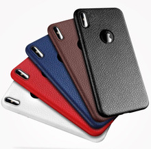 High Quality Ultra Slim Phone Case Lychee Grain Leather Cell Phone Case for iphone x
